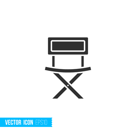 Fishing chair icon in silhouette flat style isolated on white background. Vector illustration. Ilustração