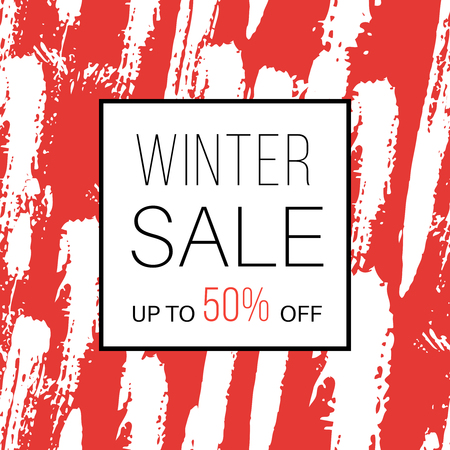 Winter sale. Online shopping banner with discount offer. Promotional design poster. Minimal red background with white hand drawn brush