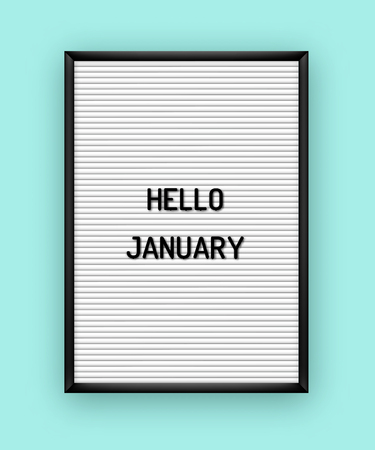 Hello January motivation quote on white letterboard with black plastic letters. Hipster vintage Valentine card 80x, 90x