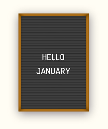 Hello January motivation quote on black letterboard with white plastic letters. Hipster vintage Valentine card 80x, 90x Ilustração