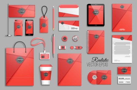 Corporate identity template set and business stationery mock-up with logo