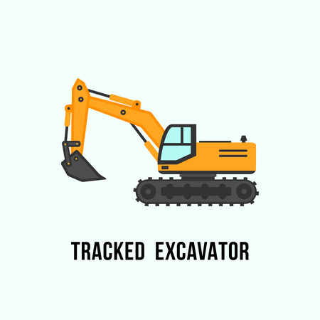 Tracked yellow excavator icon. Construction equipment vector illustration isolated on light background