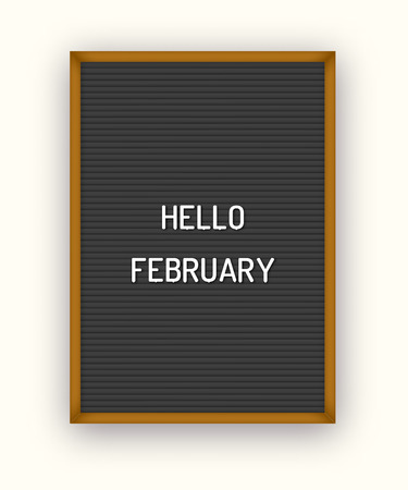 Hello February welcome quote on black letterboard with white plastic letters  イラスト・ベクター素材