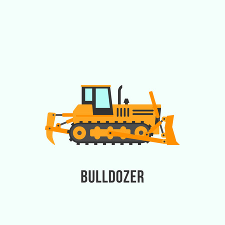 Yellow bulldozer icon in flat style. Construction equipment vector illustration isolated on light background