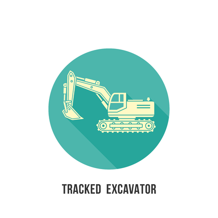 Tracked excavator silhouette with shadow icon on circle Construction equipment vector illustration
