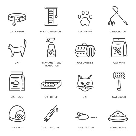 Cat and veterinary pet accessories outline icons. Vector template for vet clinic, pet shop or shelter