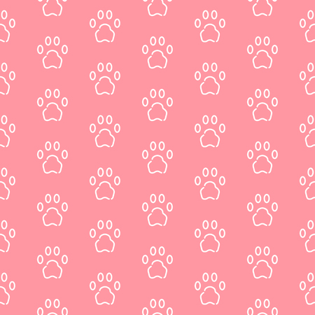 Seamless pattern with cat or dog trail outline shape texture. Minimal background, art print, design for cover, wallpaper, banner, poster