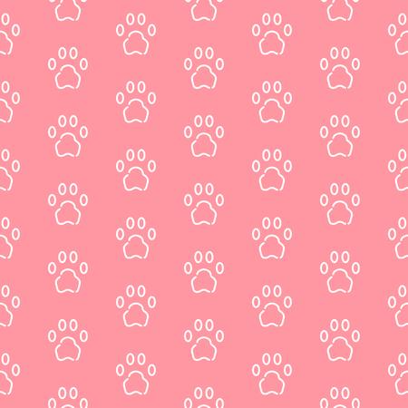 Seamless pattern with cat or dog trail outline shape texture. Minimal background, art print, design for cover, wallpaper, banner, poster Ilustração