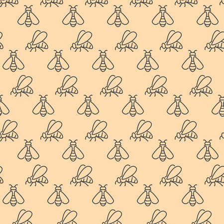 Seamless pattern with insect honeybee linear, outline vector icons