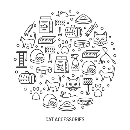 Cat and veterinary pet accessories outline icons. Vector round background for vet clinic, pet shop or shelter Illustration