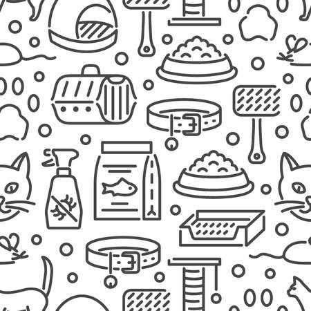 Icone di contorno di accessori per gatti e animali domestici veterinari. Modello vettoriale senza soluzione di continuità, carta da parati per clinica veterinaria, negozio di animali o rifugio