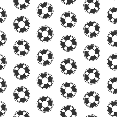 Seamless pattern with lifebuoy vector icons Illustration