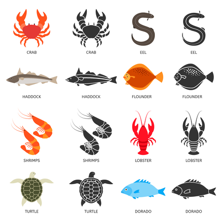 Seafood and fish icons set. Crab, lobster, flounder, shrimps, dorado, eel, turtle, haddock. Two types of illustrations in flat style and black silhouette for restaurant menu, food market or shop Illustration
