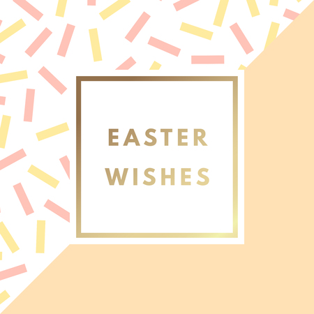 Easter Wishes greeting card. Creative design with minimal colorful vector printable background for art print, banner, poster, flyer