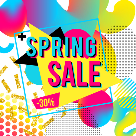 Promotional design poster with text Spring Sale on colorful imagine background. Abstract holographic trendy design for banner or package template Illustration