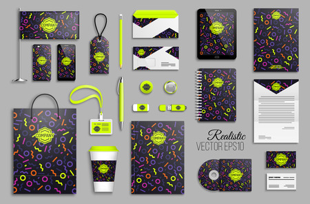 Corporate identity template set with neon color geometric shapes abstract background