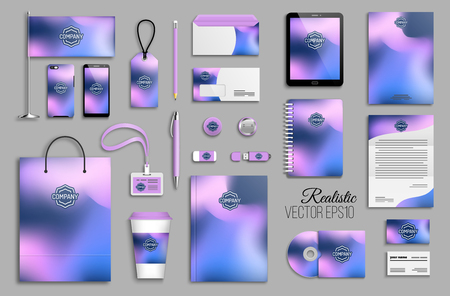 Corporate identity template set with abstract colorful holographic background