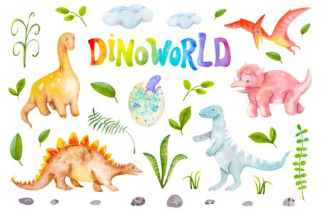Dinoworld watercolor set isolated on white background. Dinosaurus, rocks, plants. Hand drawn illustration for nursery wallpaper, stickers, baby clothes, kids fabric, books Banco de Imagens