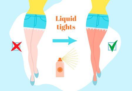Flüssige Strumpfhosen Cartoon-Stil-Konzept. Vor und nach der Bräunung weiblicher Beine. Sonnenverbrannte Haut. Kosmetikspray-Banner