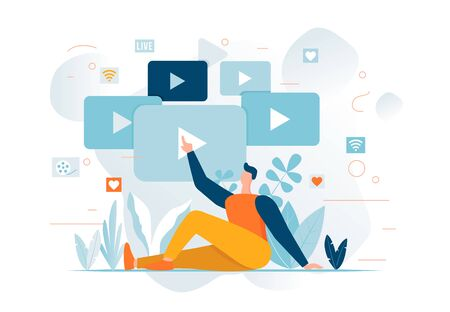 Man watching Online cinema Cartoon character. Streaming video social media concept. Play button, choosing content. Lifestyle minimalistic banner with tropical plants. Banco de Imagens