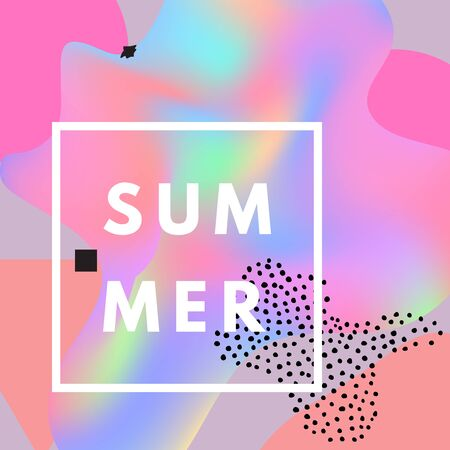 Promotional design poster with text Summer on abstract colorful holographic background