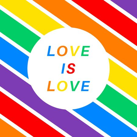 Poster with text love is love and all colors of the rainbow