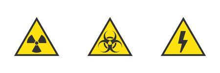 Danger, hazard, warning yellow signs of high voltage, biohazard, radiation Banco de Imagens