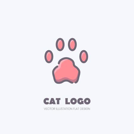 Cat paw logo, Kitten footprint flat mark Banco de Imagens