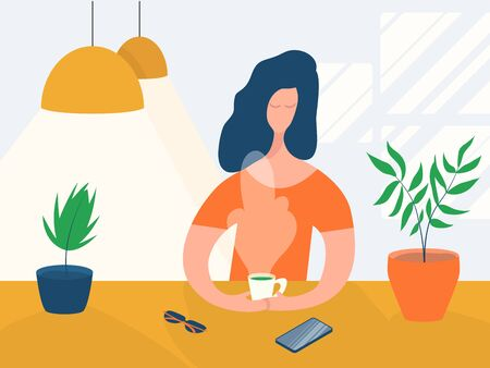 Cartoon character girl drinking hot tea coffee sitting at a table in a cafe. Concept relaxing woman in a modern interior with lamps and plants Stok Fotoğraf