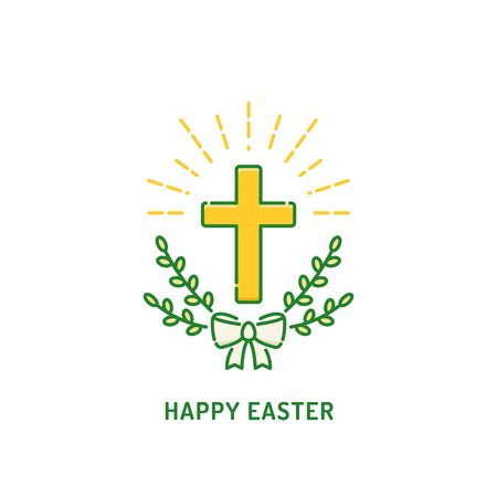 Happy Easter greeting card. Christian cross with willow. Religion holiday logo Banco de Imagens