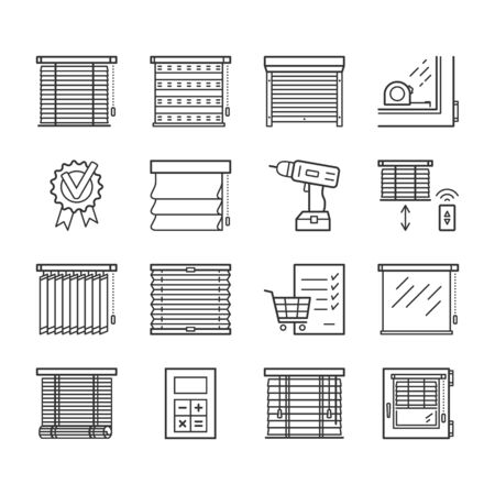 Jalousie linear icons set. Window blinds thin line editable stroke vector signs
