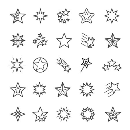 Stars linear icons set. Various polygon shapes thin line editable stroke vector signs
