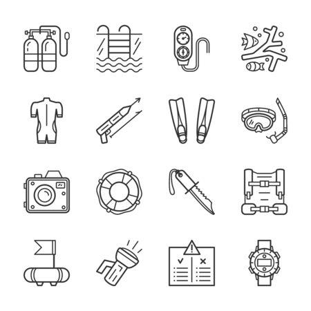 Tauchausrüstung, Zubehör und Tauchausrüstung dünne Linie Icons Set