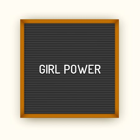 Feministic quote on square black letterboard with white plastic letters. Feminine vintage inspirational poster 80x, 90x. Girl power 写真素材 - 129736799