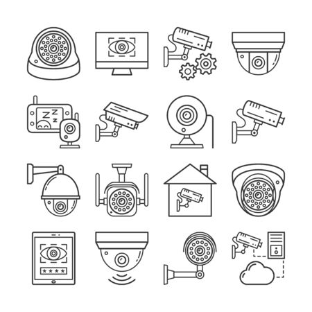 Video monitoring linear icons set. Different security surveillance camera, cctv thin line editable stroke vector signs isolated on white background