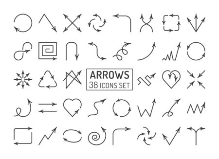 Arrows linear icons set. Different pointers thin line editable stroke vector signs isolated on white background