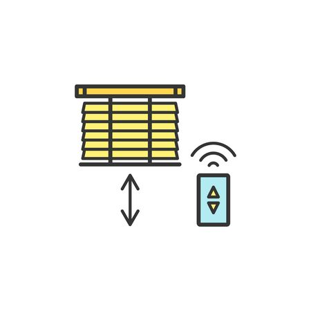 Motorized blinds with with remote controller thin line icons Vetores