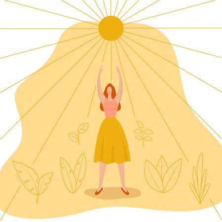 Young woman reaches for the sun. Feminist concept. International Women s Day greeting card. Girl power, strong women. Vector fashioned illustration