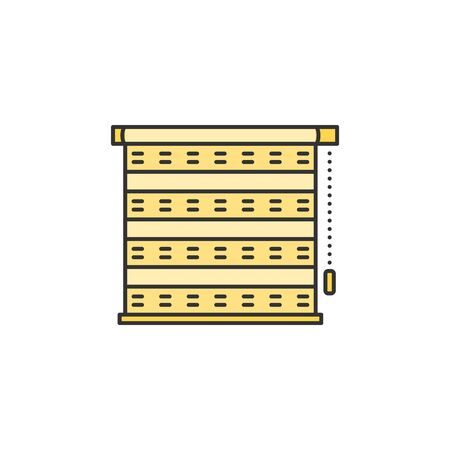 Roller blinds jalousie thin line icon. Colored linear vector sign