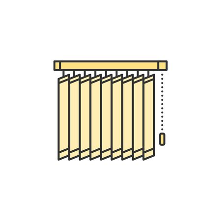Vertical blinds jalousie thin line icon. Colored linear vector sign 向量圖像