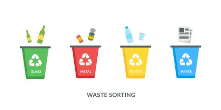 Isolated Recycle bins for plastic, paper, glass and metal vector icons in flat style on white background. Waste sorting concept for poster, banner to protect the environment Illustration