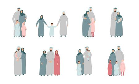 Set of different Muslim families. Arabian parents with kids in traditional islamic clothes. Cartoon vector characters isolated on white background Illustration