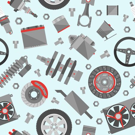 Auto spare parts seamless pattern. Car repair icon background in flat style texture