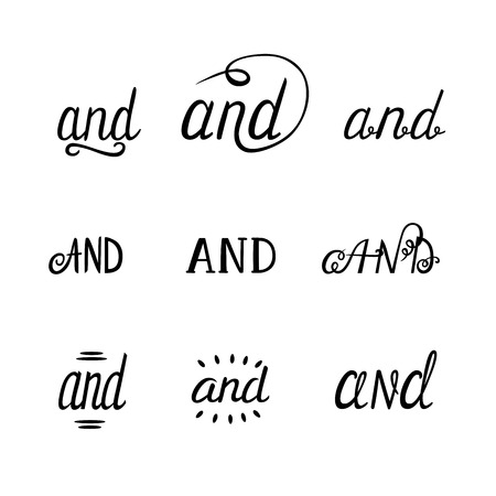 Conjunction AND hand lettering. For posters, placards, greeting cards, postcards. Vector isolated elements. Illustration