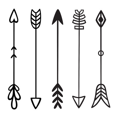 Black hand drawn doodles arrows. Set of hipster ethnic tribal vector elements. For print, poster, greeting card