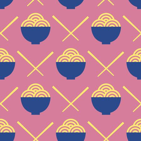 Noodles and chopsticks vector seamless pattern. Asian food illustration