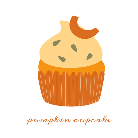 Pumpkin cupcake hand drawn vector illustration of a series of recipes with pumpkin Stock Illustratie