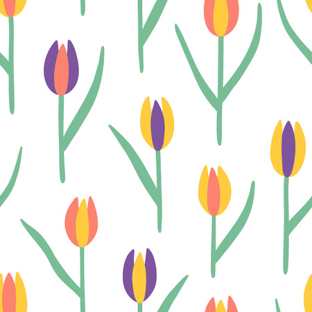 Tulips seamless vector pattern. Red, yellow and violet doodle flowers with leaves endless print