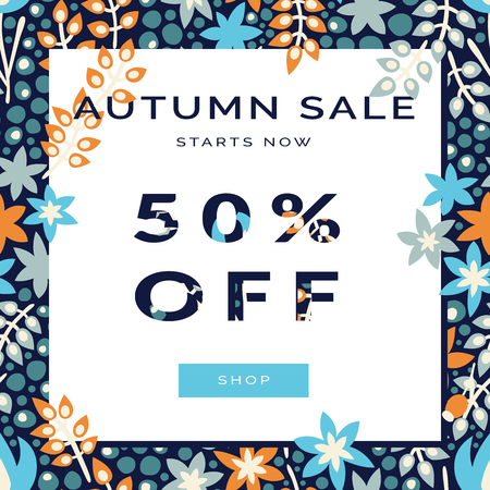 Trendy Autumn Sale Banner. Template for poster, card, placard, label design with paper cut elements. Autumnal flowers and berry seamless pattern on background