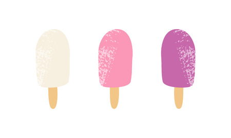 Popsicles vector hand drawing illustration with texture. Fruit ice cream in doodle style summer print isolated on white background